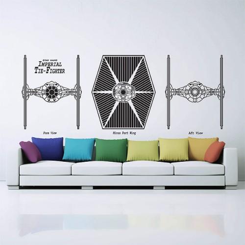 สติกเกอร์ติดผนัง Imperial Tie Fighter Star Wars Wall Sticker