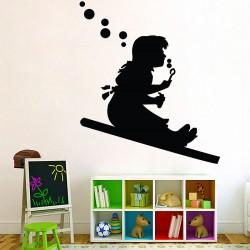 สติกเกอร์ติดผนัง Banksy girl sliding Wall Sticker (WD-0425)