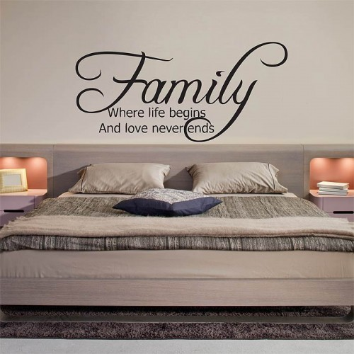 สติกเกอร์ติดผนัง Family Where life begins and love never ends Wall Decal