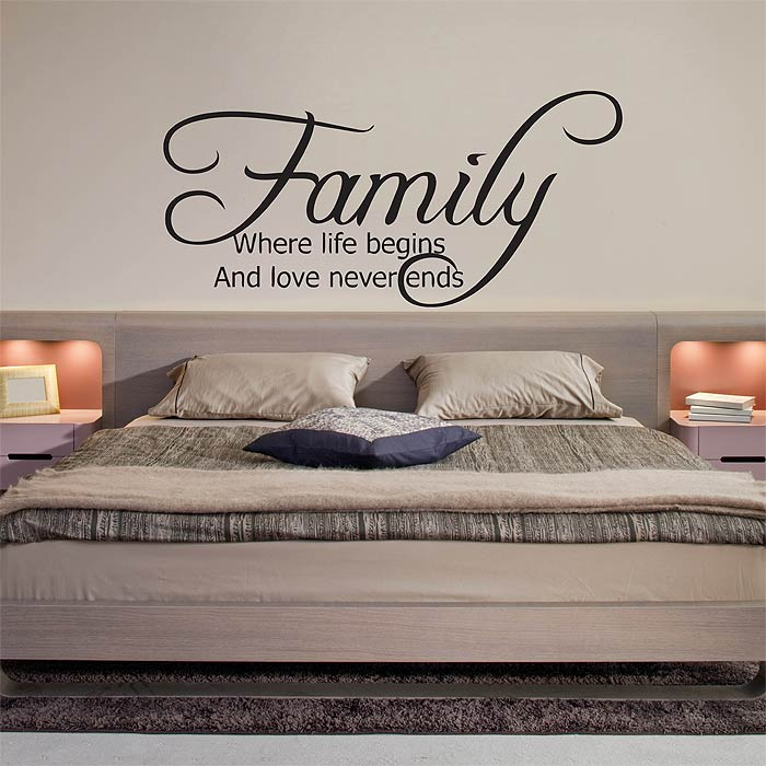 family where life begins and love never ends vinyl wall art decal