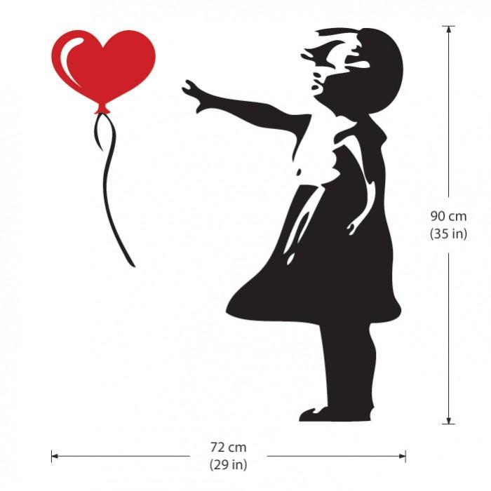 Ballon m dchen streetart banksy wandaufkleber wandtattoo - Wandtattoo ballon ...