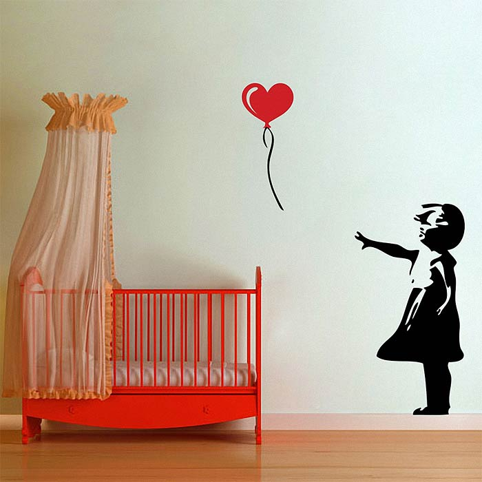 ballon m dchen streetart banksy wandaufkleber wandtattoo. Black Bedroom Furniture Sets. Home Design Ideas