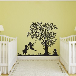 girl on the swing Vinyl Wall Art Decal (WD-0455)