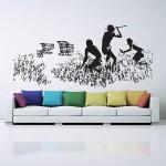 สติกเกอร์ติดผนัง Banksy Hunters Shopping Carts Wall Sticker