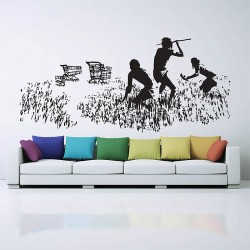 Banksy Hunters Shopping Carts Vinyl Wall Art Decal (WD-0473)