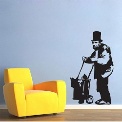 Banksy Abe Lincoln Homeless Vinyl Wall Art Decal (WD-0476)