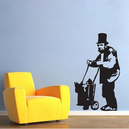 สติกเกอร์ติดผนัง Banksy Abe Lincoln Homeless Wall Sticker