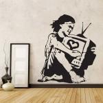 สติกเกอร์ติดผนังBanksy Girl Television TV Love / Wall Sticker