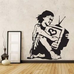 สติกเกอร์ติดผนังBanksy Girl Television TV Love / Wall Sticker (WD-0477)