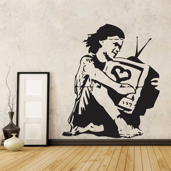 Banksy Girl Television Tv Love Vinyl Wall Art Decal