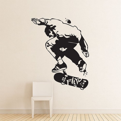 สติกเกอร์ติดผนัง Skateboard Flip Tricks Wall Sticker