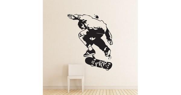 Vinyl Wall Decal Sticker Skater Upside Down Skate Board item 337A