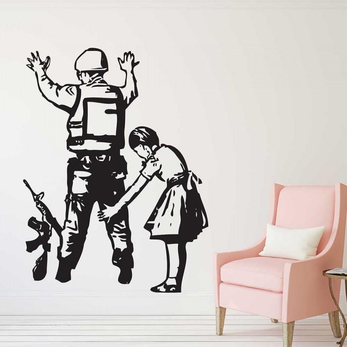 Banksy Girl Frisking Police Vinyl Wall Art Decal