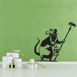 สติกเกอร์ติดผนัง Banksy Rat with paint roller Wall Sticker (WD-0493)