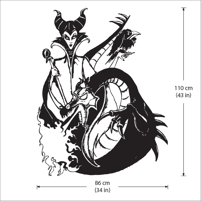 Maleficent And Dragon Vinyl Wall Art Decal Wd 0519
