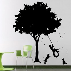 The Boys on old Tire Swing and Dogs Vinyl Wall Art Decal (WD-0529)