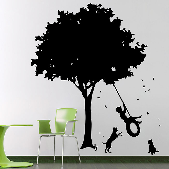 the boys on old tire swing and dogs vinyl wall art decal