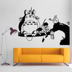 สติกเกอร์ติดผนัง My Neighbor Totoro and Whale Rider Wall Sticker (WD-0530)