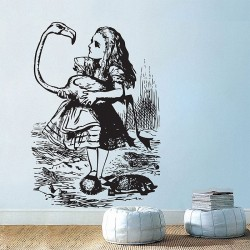 Alice Playing Croquet Vinyl Wall Art Decal (WD-0533)