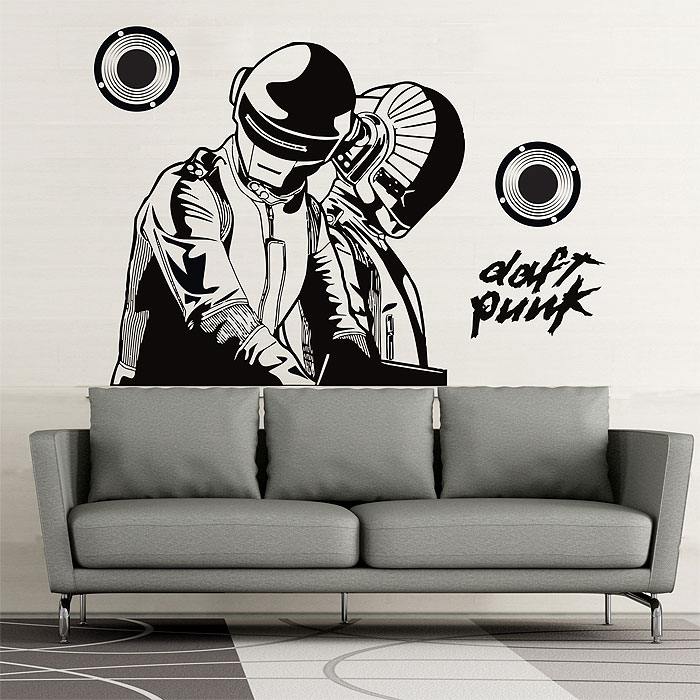 dj daft punk wandaufkleber wandtattoo. Black Bedroom Furniture Sets. Home Design Ideas