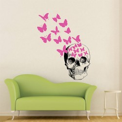 Skull And Butterfly Vinyl Wall Art Decal (WD-0541)