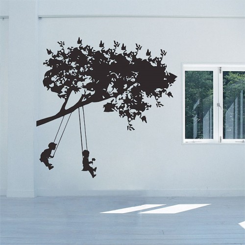 Kids on Swing Vinyl Wall Art Decal