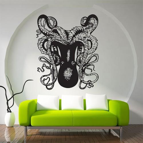 สติกเกอร์ติดผนัง ปลาหมึกยัก Octopus Wall Sticker