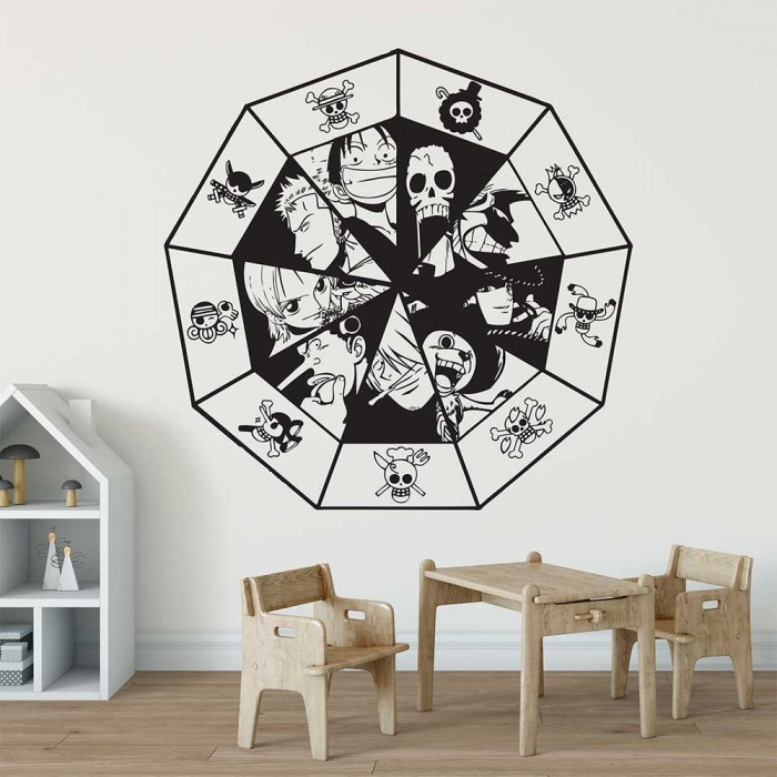 one piece straw hat pirates crew vinyl wall art decal