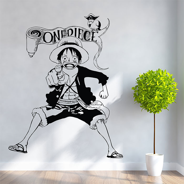 monkey d. luffy straw hat pirates one piece vinyl wall art decal