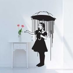 Banksy Nola Girl with the Umbrella Vinyl Wall Art Decal (WD-0614)