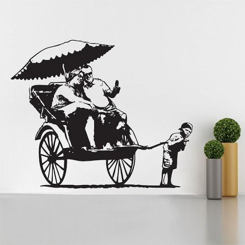 สติกเกอร์ติดผนัง Banksy Rickshaw Kid Wall Decal