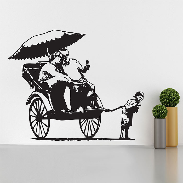 Banksy Wall Art rickshaw kid vinyl wall art decal