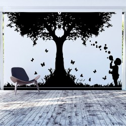 The Kid Blowing Bubbles Vinyl Wall Art Decal (WD-0626)
