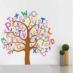 สติกเกอร์ติดผนัง colorful letters Tree Wall Sticker