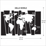 Hello World Map Vinyl Wall Art Decal