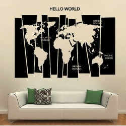 Hello World Map Vinyl Wall Art Decal (WD-0629)