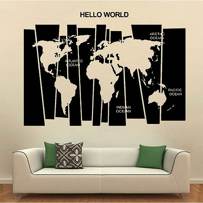 Map Of The World Decal.Hello World Map Vinyl Wall Art Decal