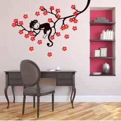 สติกเกอร์ติดผนัง ภาพ Sleeping Monkey on Tree Wall Decal (WD-0632)