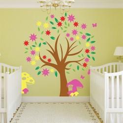 สติกเกอร์ติดผนัง Autumn Tree Colorful Wall Sticker (WD-0634)