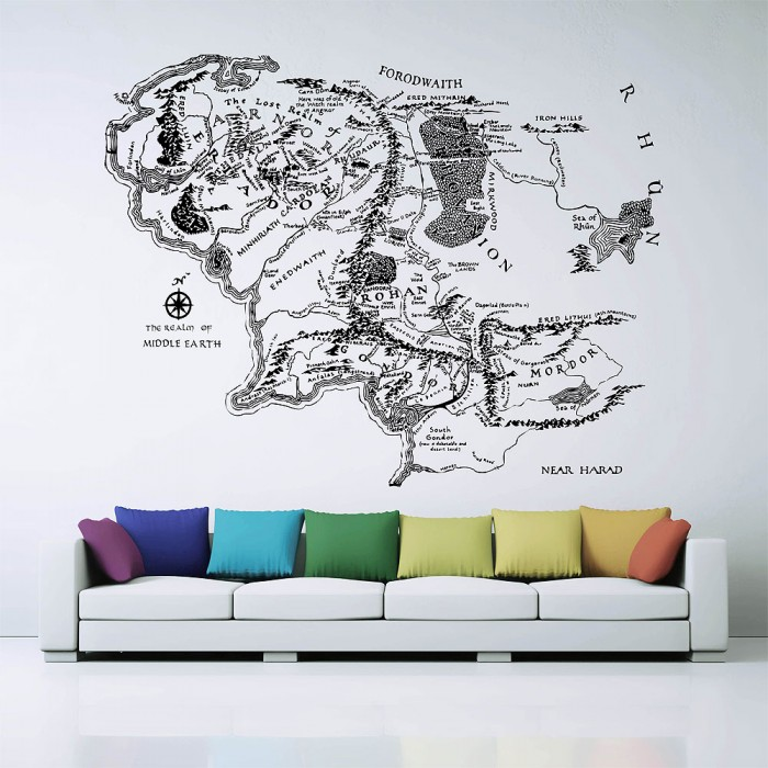 middle earth map karte von mittelerde wandaufkleber wandtattoo. Black Bedroom Furniture Sets. Home Design Ideas