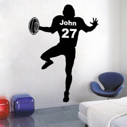 Personalized American Football  with Name and Number Wall Decal (WD-0647)