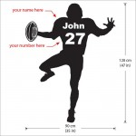 Personalized American Football  with Name and Number Wall Decal