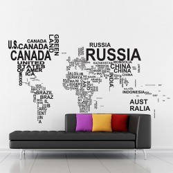 Typography World Map v1 Vinyl Wall Art Decal (WD-0649)