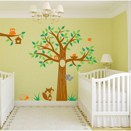 สติกเกอร์ติดผนัง The Woodland and Animals Wall Sticker