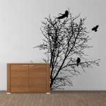 สติกเกอร์ติดผนัง ภาพ Tree silhouette with Bird Wall Art
