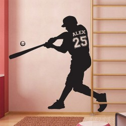 Baseball with Personalized Name & Number Wall Decal (WD-0675)