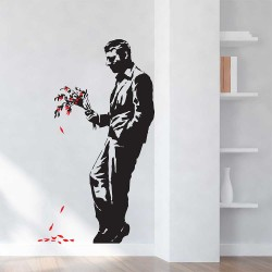 Banksy Waiting In Vain Vinyl Wall Art Decal (WD-0677)