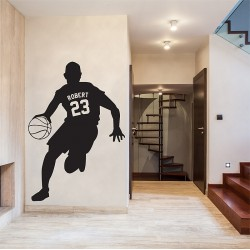 Basketball with Personalized Name & Number Wall Decal (WD-0679)