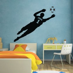 Football Soccer with Personalized Name & Number Wall Decal (WD-0680)