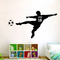 Football Soccer Shooting with Personalized Name & Number Wall Decal (WD-0681)
